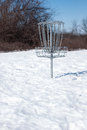 Disc Golf Basket in Snow Royalty Free Stock Images