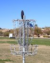 Disc Golfing: Bull´s eye! Royalty Free Stock Image