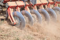 Disc harrow system cultivate the soil close up of a Royalty Free Stock Photography