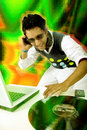 Disc jockey in action Royalty Free Stock Image