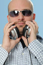Disc Jockey with Headphones Royalty Free Stock Photo