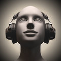 Disc jockey headset on a human head looking to the up Royalty Free Stock Photos