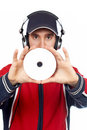Disc Jockey holding a compact Stock Images