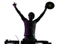 Disc jockey man happy joy arms raised silhouette Royalty Free Stock Photo