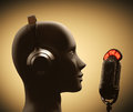 Disc jockey microphone in front of the human head Royalty Free Stock Photos