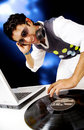 Disc jockey in a nighctlub Royalty Free Stock Photo