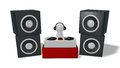 Disc jockey on turntables d illustration Stock Photography