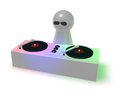 Disc jockey on turntables d illustration Royalty Free Stock Photos