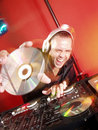 Disc Jockey at work. Stock Photo