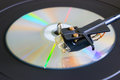 Disc on a turntable close-up side view selective focus Royalty Free Stock Photo