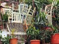 Discarded chairs plaka taverna restaurant athens greece Royalty Free Stock Photography