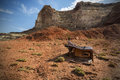 Discarded refridgerator in the san rafael swell at reds canyon near greenriver utah Stock Photo