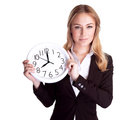 Discipline in office concept portrait of beautiful young business woman holding hands clock isolated on white background and Royalty Free Stock Images