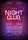 Disco abstract background. Neon sign Night club poster.