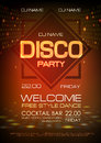 Disco ball background. Neon sign disco party poster.