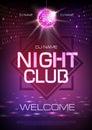 Disco ball background. Neon sign night club