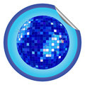 Disco ball blue sticker Royalty Free Stock Images
