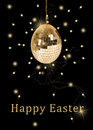 Disco ball easter egg a glamourous illustration a hanging in a shape of an with shiny golden sequins on a black background Royalty Free Stock Photography