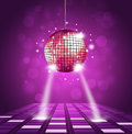 Disco ball floor background equalizer music waves Stock Images