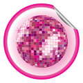 Disco ball purple sticker Stock Photography