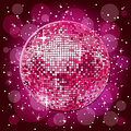 Disco ball sparkling in pink Stock Image