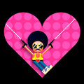 Disco cupid illustration cartoon and heart vector Royalty Free Stock Images