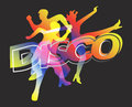 Disco dancers on black background and modern dancing silhouettes with the colorful inscription the vector illustration Royalty Free Stock Images
