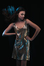 Disco girl sensual fashion portrait of young gorgeous woman in party dress Royalty Free Stock Image