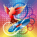 Disco illustration with vinyl disc and dancing winged girl against rainbow festive background Royalty Free Stock Photos