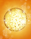 Disco party ball lights on on golden background concept of fun christmas new year and holidays Royalty Free Stock Photos