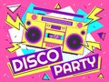 Disco party banner. Retro music poster, 90s radio and tape cassette player funky colorful design vector background