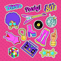 Disco Party Doodle. Music Fashion Set with Woman, Guitar and Trendy Elements. Stickers, Badge and Patch
