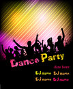 Disco party poster background for with silhouettes of dancing people Royalty Free Stock Image