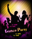 Disco party poster background for with silhouettes of dancing people Royalty Free Stock Photo