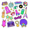 Disco Party Retro Fashion Elements with Guitar, Lips and Stars for Stickers, Patches, Badges