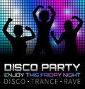 Disco poster with dancers silhouettes Royalty Free Stock Photo