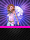 Disco poster with dancing girl Stock Photos