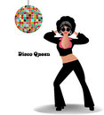 Disco queen sunglasses and curly hair retro concept Royalty Free Stock Photos