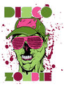 Disco zombie vector illustration ideal for printing on apparel clothing Stock Image