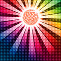 Discoball with funky rainbow background eps created in adobe illustrator using overlays Royalty Free Stock Photo