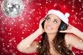 Discoball, snow, and santa girl Royalty Free Stock Image
