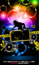 Discoteque Music Flyer with Attractive Rainbow Royalty Free Stock Photo