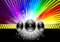 Discotheque banner template with rainbow Royalty Free Stock Photo