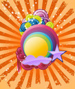 Discotheque rainbow banner Royalty Free Stock Images