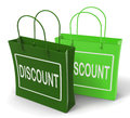 Discount bags show bargains and markdown products showing Stock Photos