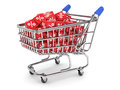 Discount concept d render of shopping cart with percent boxes Royalty Free Stock Image