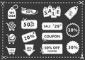 Discount icons set, shopping and discount coupons, offer price
