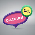 Discount label on gray background Royalty Free Stock Image