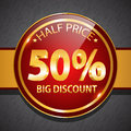 Discount label icon round glossy promotional design Stock Image