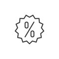 Discount label line icon, outline vector sign